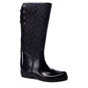 COACH BOOTS tall tristee logo black lace rubber 9b